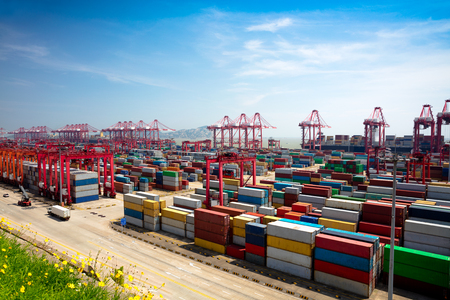 Shanghai Yangshan deepwater port is a deep water port for container ships in Hangzhou Bay south of Shanghai, China. 스톡 콘텐츠