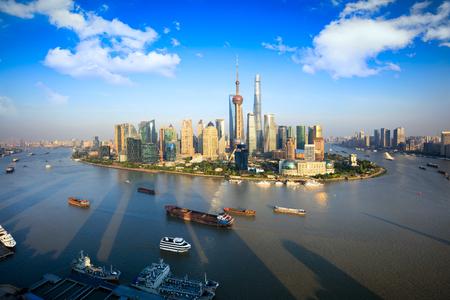 china: Shanghai skyline panoramic view, Shanghai China