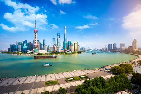 panoramic view: Shanghai skyline, Panoramic view of shanghai skyline and huangpu river, Shanghai China Stock Photo