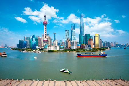 Shanghai skyline, Panoramic view of shanghai skyline and huangpu river, Shanghai China Stock Photo