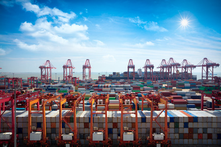 deep south: Shanghai Yangshan deepwater port is a deep water port for container ships in Hangzhou Bay south of Shanghai, China. Stock Photo