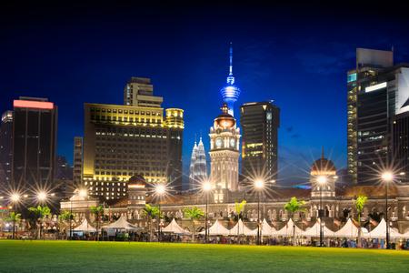 Merdeka Square in downtown Kuala Lumpur at twilight, Malaysia