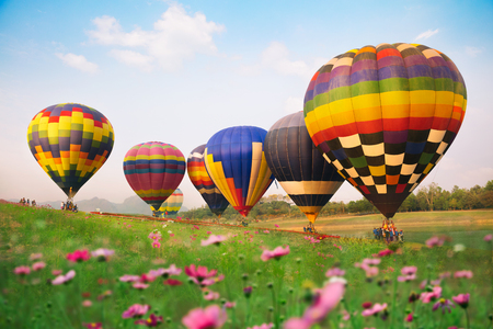 The Balloons festival in Singha park at Chiangrai province of Thailand Stock Photo