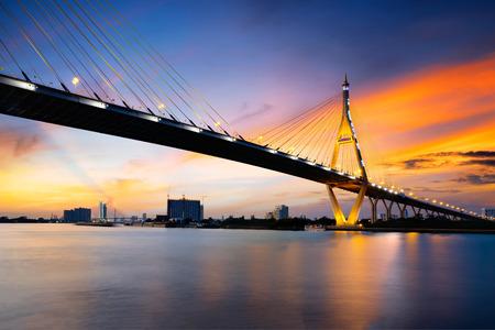 Bhumibol bridge at dusk, Bangkok Thailand