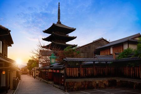 Yasaka Pagoda en Sannen Zaka Street in het Morning, Kyoto, Japan Stockfoto
