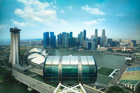 Marina bay from top of Singapore flyer, Singapore Editorial