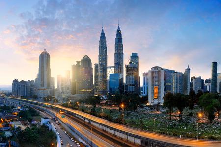 아침, 말레이시아의 스카이 라인, 말레이시아 쿠알라 룸푸르 도시의 스카이 라인