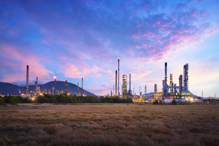 oil industry: Oil refinery industry at sunrise, Oil refiner Industry background concept Stock Photo