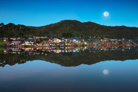 Ban Rak Thai, a Chinese settlement in Mae Hong Son province, Northern Thailand. The village was established, and is still populated by Chinese Kuomintang refugees who escaped the communists in 1949. Stock Photo