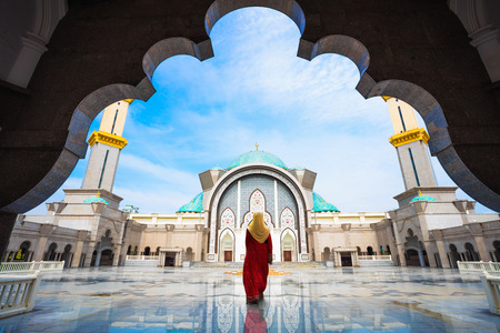 places of interest: Malaysia Mosque with Muslim pray in Malaysia, Malaysian muslim with mosque religion concept Stock Photo