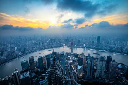 상하이 스카이 라인 도시 풍경, 상하이 luajiazui 금융 및 비즈니스 지구 무역 지대 스카이 라인, 중국 상하이