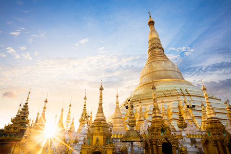 spiritual architecture: Shwedagon pagoda at sunset, Yangon Myanmar