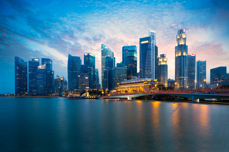 Marina bay at dusk, Singapore city skyline Stock Photo