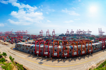 Shanghai Yangshan deepwater port is a deep water port for container ships in Hangzhou Bay south of Shanghai, China. Stock fotó