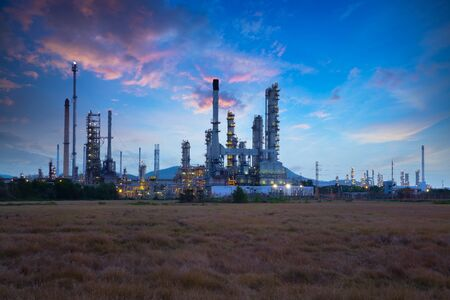 refinement: Oil refinery industry at sunrise, Oil refiner Industry background concept Stock Photo