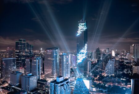 silom: MahaNakhon tower is tallest buildings in Thailand, Silom area, Bangkok Thailand Stock Photo