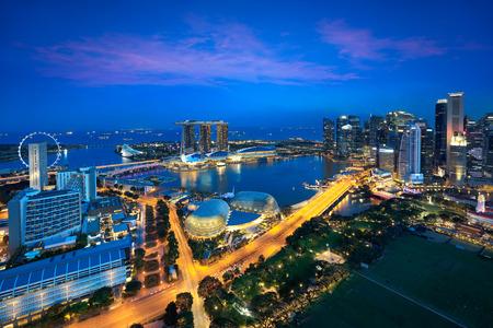 싱가포르의 도시 스카이 라인, 싱가포르의 비즈니스 지구, 싱가포르 스톡 콘텐츠
