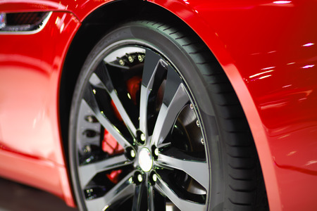 Close up sport car wheel Stock Photo