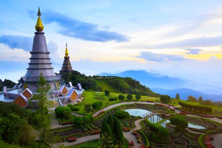 phon: Landmark landscape pagoda in doi Inthanon national park at chiang mai Thailand