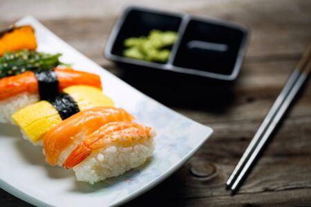 Closeup fresh and delicious maki and nigiri sushi Stock Photo