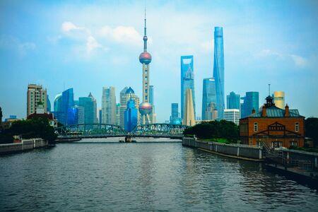 Shanghai city skyline with historical Waibaidu bridge, Shanghai, China Stock Photo