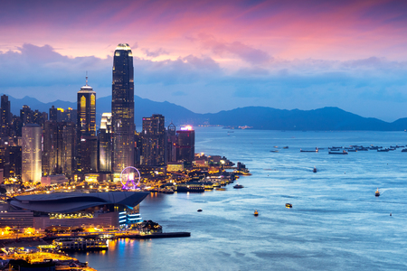 Hong Kong skyline view from Braemar hill a destination viewpoint to observe Victoria Harbour, Hong Kong