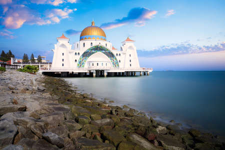 Malacca straits mosque masjid selat melaka it is a mosque located on the man made malacca Stock Photo