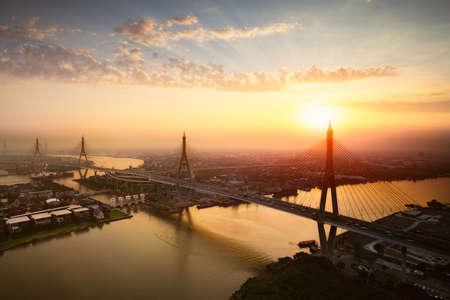 Beautiful bridge and river landscapes birds eye view during sunset, Bangkok Thailand