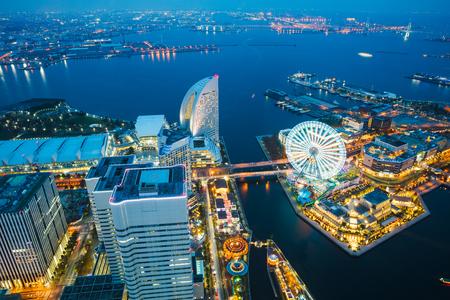 Yokohama bay cityscape at twilight, Yokohama Japan