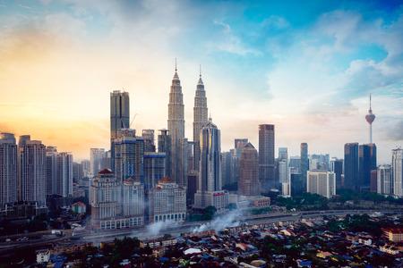 Downtown district Kuala Lumpur skyline, Kuala Lumpur Malaysia Фото со стока