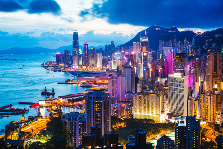 Night scene on Braemar hill a destination viewpoint to observe Victoria Harbour, Hong Kong
