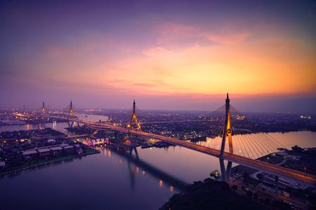 Bhumibol bridge at sunset