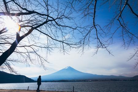 Mt Fuji in fall at lake Kawaguchiko, Japan