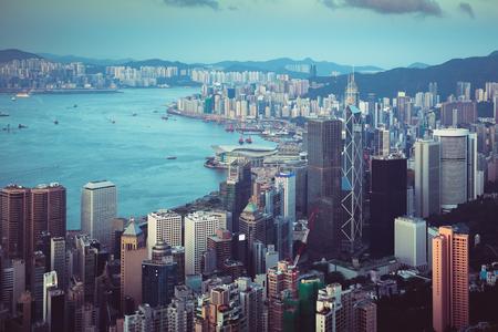 Hong Kong skyline day time at Victoria peak, Hong Kong China Фото со стока