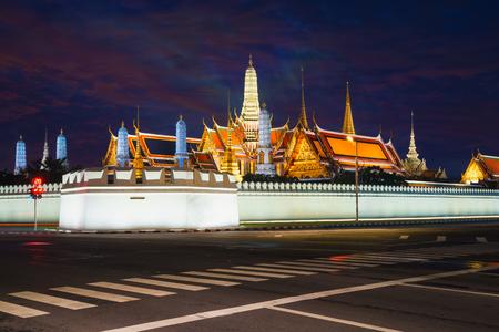 Grand palace and Wat phra keaw at dusk bangkok, Thailand