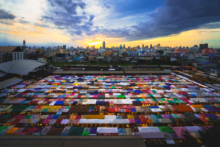 Multi-colored tents Sales of second-hand, Train Night Market Ratchada, Bangkok, Thailand