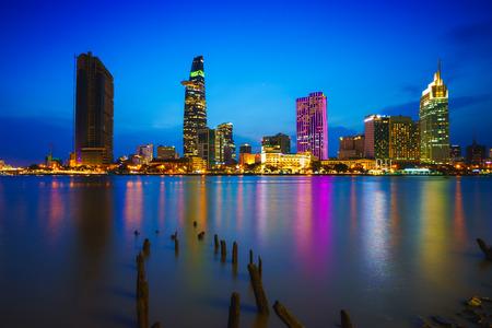 Ho Chi Minh City skyline and the Saigon River, Vietnam Фото со стока