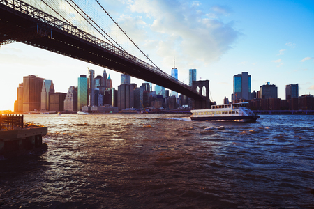 Brooklyn bridge, New York city skyline USA
