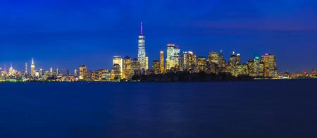 Manhattan skyline New york city at dusk, NYC USA Фото со стока