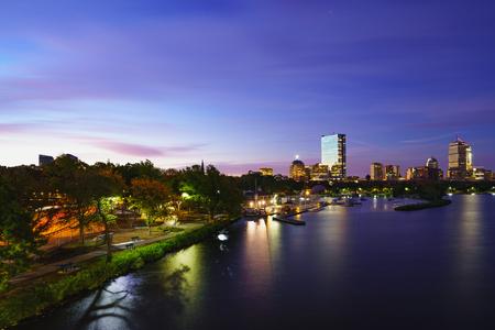 Lederman Park and Boston city skyline, Boston Massachusetts USA