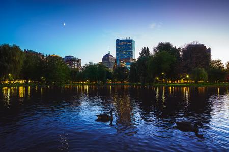 The pond at the Boston public garden, Boston Massachusetts USA Фото со стока