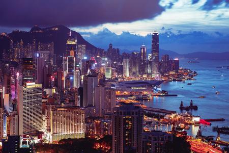 Hong Kong city skyline from Braemar hill a destination viewpoint to observe Victoria Harbour, Hong Kong