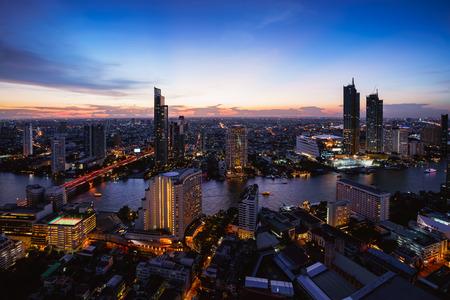 Aerial view of bangkok city skyline and skyscraper, Bangkok Thailand
