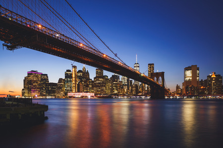 Brooklyn bridge, New York city skyline USA