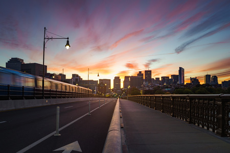 Longfellow bridge in the morning,  Boston Massachusetts USA