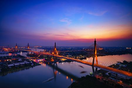 Beautiful bridge and river landscapes birds eye view during sunset, Bangkok Thailand