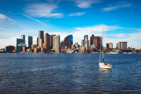 Boston skyline with sail boat, Boston Massachusetts USA