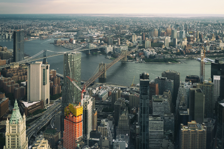 Aerial view of lower Manhattan ooking at the Brooklyn bridge, NYC USA Фото со стока - 114053569