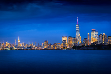 New york city skyline at dusk, NYC USA