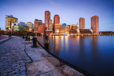 Boston harbor at dusk in Boston Massachusetts USA Фото со стока - 115587570